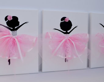 Ballerina nursery wall art in pink and white. Girls room decor.