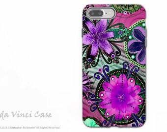 Purple Floral iPhone 7 PLUS - 8 PLUS Tough Case - Dual Layer Protection - Paisley Apple iPhone 7 PLUS Case - Paradisa Purpala