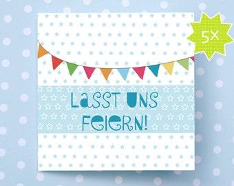 5xLASST US celebrate!. Invitation card Set. Invitation. Birthday. Birth. Wedding. Baptism. Party. Summer. Spring. Anniversary