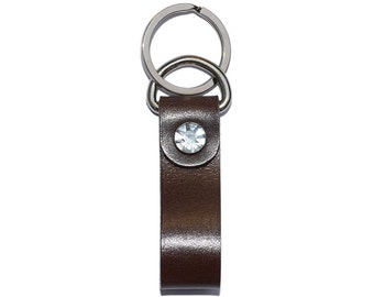 Brown Leather Key Fob / Keychain Wristlet, Leather Keychain, Leather Key Holder / Mens Keychain, Leather Key Ring, Leather Key Chain