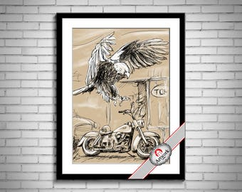 Vintage Motorbike Bike Harley Davidson image Instant Download printable Vintage picture clipart digital graphic burlap, t-shirt etc 300dpi