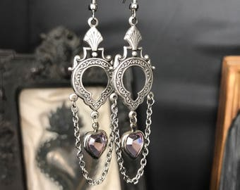 Art deco purple glass heart earrings
