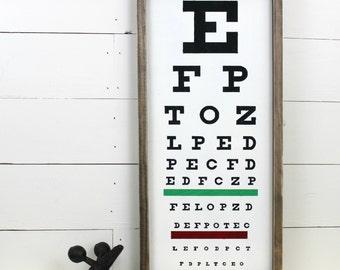 Eye Chart Sign Framed Wood Sign Wall Decor Optometrists Decor
