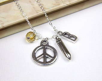 Personalized Anti War Necklace with Your Initial and Birthstone
