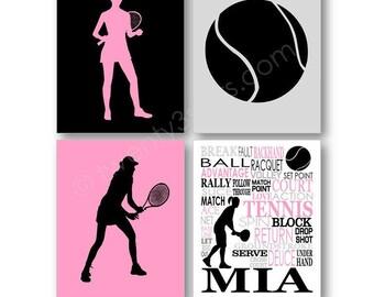 Girl's Tennis Art Prints, Tennis Art, Tennis Canvas, Tennis Player Gift, Womens Tennis Gift, Personalized Tennis Wall Art, Tennis Poster Art