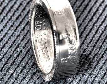 2008 Silver Half Dollar Coin Ring Proof JFK Kennedy 50 Cent CoinRing Size 7-17 10th Year Wedding Anniversary Gift In God We Trust Coin Rings