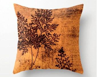 ORANGE BOTANICAL Decorative Throw Pillow - celosia orange botanical accent cushion, pillow cover, cushion cover, home decor, colorful pillow
