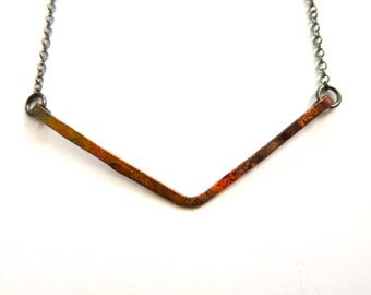 Heat Patina Hammered Copper Necklace