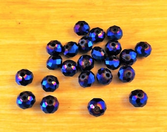 10 pearls Crystal 6 x 4 mm faceted round iridescent metallic blue color