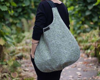 light blue packable hobo bag, xl shoulder bag, light green handbag, long hobo bag, slouch large bag, genuine black leather, canvas bag, sale