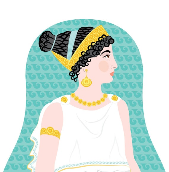 Ancient Greek Doll Art Print with traditional dress, matryoshka