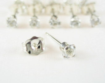 3mm White Topaz Gemstone Sterling Silver Stud Earrings 1 pair