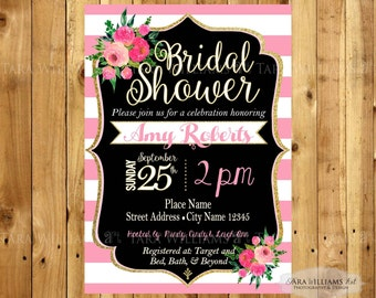 Pink & White Striped Bridal Shower Invitation-Stripes-Pink-Black and White-Kate Inspired-Wedding-Printable-Custom-You Print