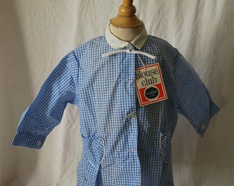 vintage 70s t 2 years gingham smock dress new