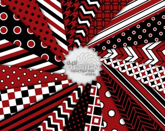 Black and Red - Digital Paper and Printable Backgrounds - Digital Scrapbooking Paper in school team colors -  Instant Download (DP354K)