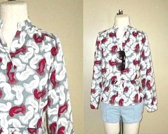 SALE - Vintage 70s blouse BIRD PRINT retro tunic - M