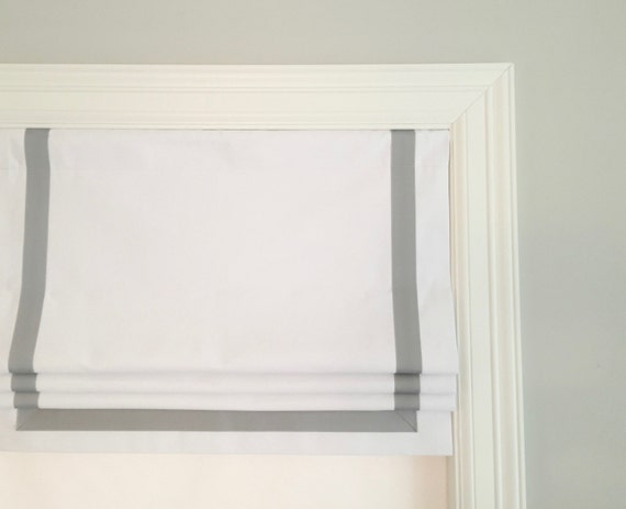 Faux Fake Flat Roman Shade Valance With Grosgrain Ribbon