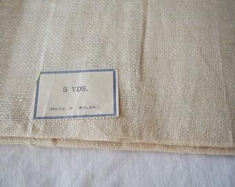 Antique Irish Linen Fabric Organic Unbleached 5 Yd