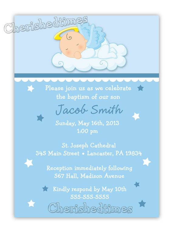 Baby Angel Boy or Girl Baptism Christening Invitation Digital
