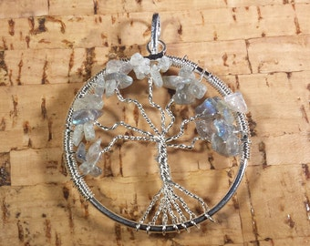 LABRADORITE Tree Of Life Wire Wrapped Pendant Stone Natural Gemstone