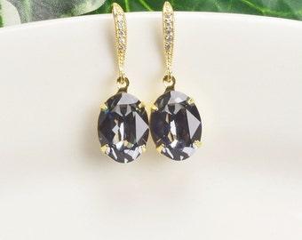 Charcoal Gray Earrings Bridal Swarovski Earrings Gold Bridesmaid Earrings Crystal Drop Earrings Wedding Jewelry Gifts for Bridesmaids