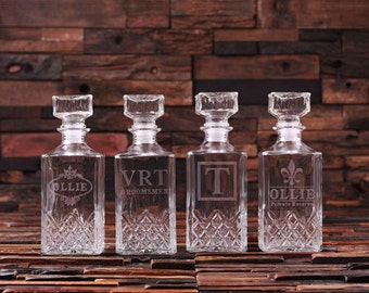 Set of 5 Personalized Engraved Etched Whiskey Scotch Decanter Bottle Groomsmen Gift Idea