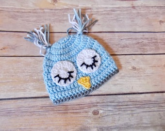 Baby Owl Hat, Newborn Animal Hat, Custom Baby Beanie, Knit Preemie Hat
