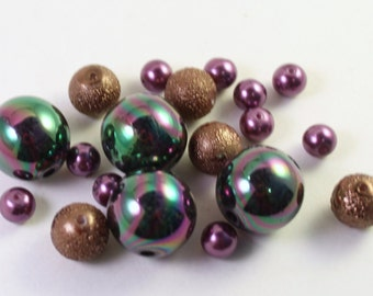 Assorted Dark Purple & Copper Brown Acrylic and Glass Beads, Wholesale Bead Lots