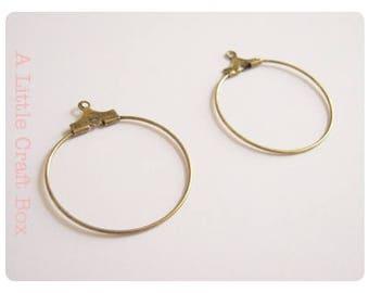 6 hoops / hoop earrings - antique bronze color