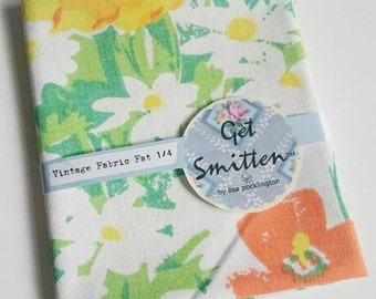 Yellow Orange & Green Abstract Floral Meadow 1980s English Vintage Fabric Fat Quarter