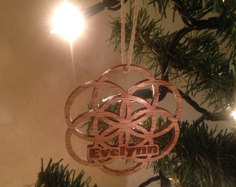 Sustainable Wooden Personalized Sacred Geometry Ornament - Customized Wood Flower of Life - Custom Seed of Life