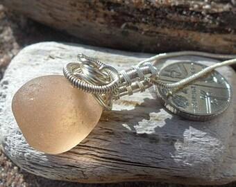 Stunning Peach Sea Glass Necklace
