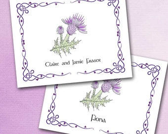 Thistle Note Cards, Outlander Inspired, Dainty Thistle With Celtic Border, Lavender and Green, Scotland Scottish Personalized with Your Name