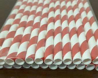 Red and white paper straws. striped paper straws. cake pop sticks.