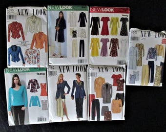 Lot of 7 New Look Misses Patterns Sizes 6-16 and 8-18 Uncut and Factory Folded