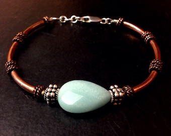 copper anniversary gift - copper jewelry - copper bracelet - 7th anniversary -  22nd - gifts for wife - amazonite bracelet - blue bracelet
