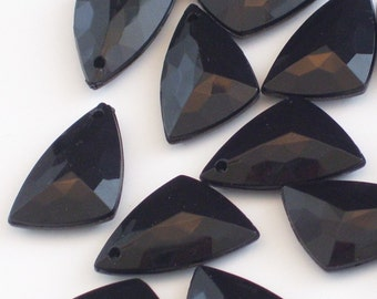 50 Black Vintage Lucite Drops // Faceted Triangle Charms