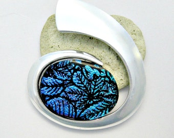 LargeTurquoise Dichroic Leaf Fused Glass Pendant