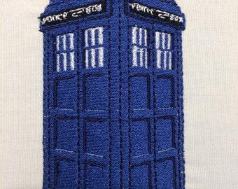 Blue Police Box Machine Embroidery Design 4x4