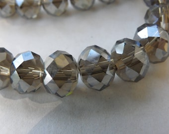 50 8 mm abacus crystal glass beads has faceted amber shiny taupe