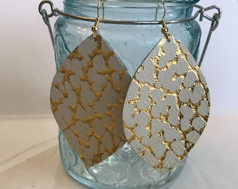 Large size, gold crackle petal shape leather earring