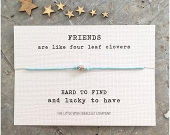 FRIENDS are like Four LEAF CLOVERS Wish Bracelet Add a Name & Custom options available