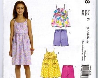 McCall's M6008 Childrens & Girls Top Dress Shorts and Pants Sizes 7 8 10 12 and 14 Sewing Pattern Uncut Factory Folded