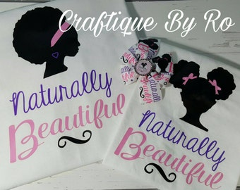 Naturally Beautiful - Mommy and Me Shirt Set with Free Matching Bow - Afro Puff Shirt - Natural Hair Shirt