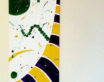 Carnival painting. Purple, Gold, Green. Original