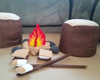 Felt Campfire - photography prop - Tree Stump Seats - pretend campfire  - teepee play - camping - Bonfire - felt food - toy fire -fake fire