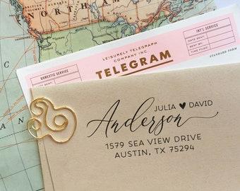 Custom Wedding Address Stamp, Return Address Stamp, Wedding Gift, Housewarming Gift, Cute Heart Self Inking Stamp,Save The Date Rubber Stamp