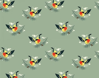 Western Tanager (Organic Poplin Fabric) by Charley Harper from the Western Birds collection for Birch Fabrics
