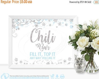 ON SALE Chili Bar Sign Winter ONEderland, Chili bar sign, First Birthday Party, Baby shower, Bridal Shower, Winter Wonderland, Blue and Silv