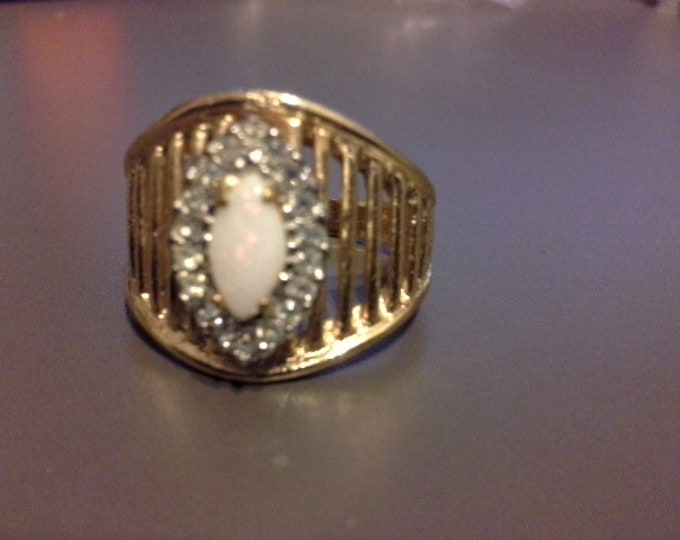 Vintage 18kt Heavy Gold Plate Natural Opal & CZ Diamond Mens Dress Ring Size 9